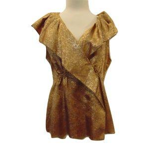 BCBGMaxAzria new gold jacquard large collar top M